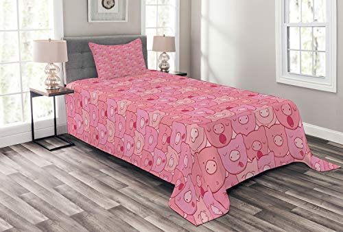 Lunarable Pig Bedspread, Funny Snouts of Pigs with Different Emotions and Happy Animal Faces Tile Pattern, Decorative Quilted 2 Piece Coverlet Set with Pillow Sham, Twin Size, Pale Pink