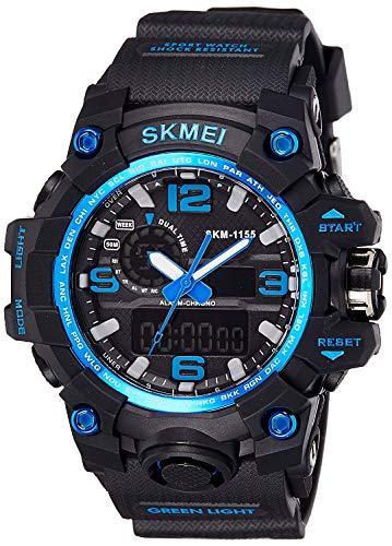 Skmei Analogue-Digital Black Dial Men's Watch -Ad1155 Blue