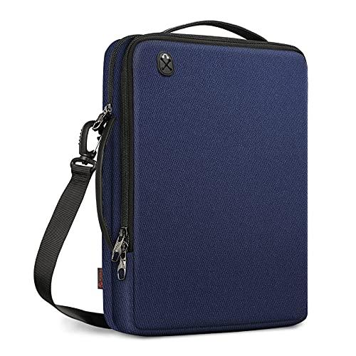 FINTIE 13 Pollici Laptop Custodia Borsa a Tracolla per 13.3 Pollici MacBook Air A2337 M1 A1932 A2179, MacBook Pro 13  A2338 A2159 A1989 A1706 A1708, Idrorepellente Tablet Valigetta, Blu Scuro