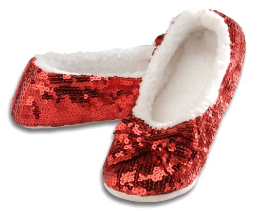 Snoozies Ballerina Bling Metallic Shine Women Slippers | Sequin House Slippers for Women | Slipper Socks with Grippers for Women | Cute Slippers for Women | Red | X-Large
