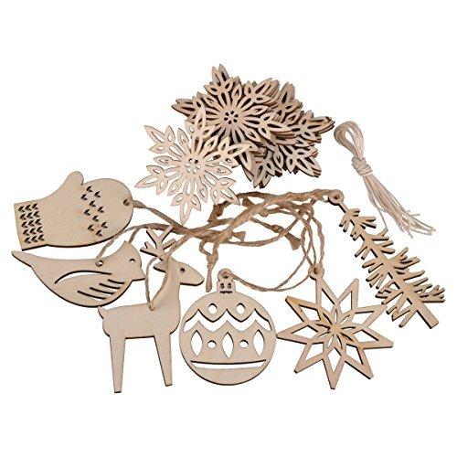 Ezakka, 16 decorazioni in legno, da appendere con corde, per albero di Natale, lavoretti natalizi