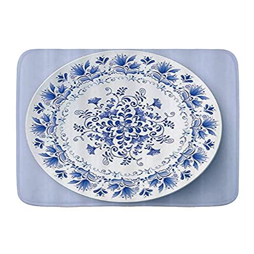 FOURFOOL Alfombrilla de Baño de Microfibra,Platos de Porcelana Azul y Blanca,Alfombra Baño Absorbente y Antideslizante Suave Alfombra de Ducha Lavable a Máquina 45x75cm