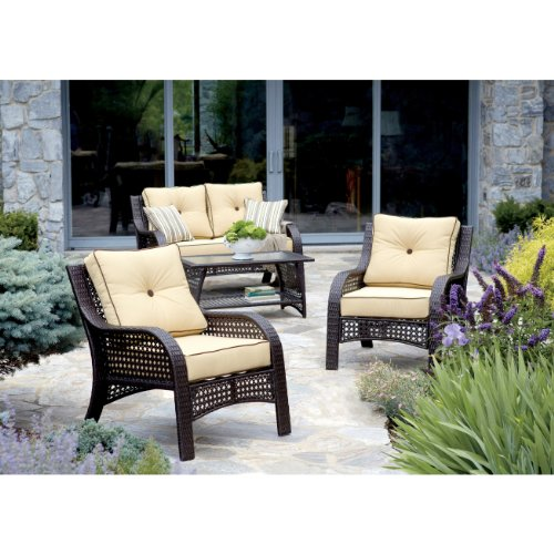 """Hot Sale """"NorthCape"""" Chicago Wicker 4 Piece Napa Chat Collection Furniture Set"""