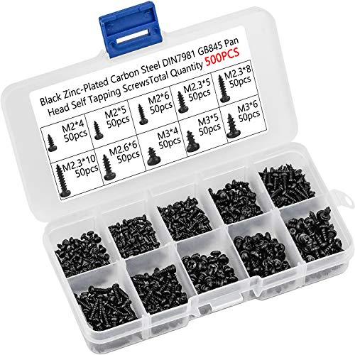 500 Piezas Tornillo de Cabeza Cruzada M2 M2.3 M2.6 M3 Tornillos de acero al carbono Tornillos autorroscantes Tornillo de cabeza plana negro con caja de almacenamiento para plástico Madera
