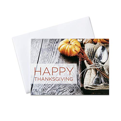 Thanksgiving Greeting Cards - TH1510. Greeting Cards Featuring a Pumpkin and a Thanksgiving Place Setting. Box Set Has 25 Greeting Cards and 26 White with Silver Foil Lined Envelopes.