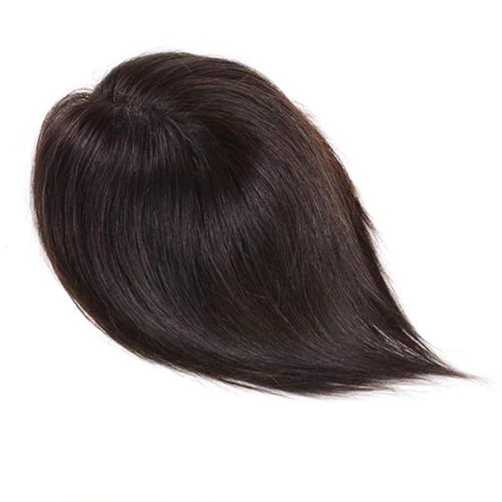 磁器資料前BOBIDYEE 女性のロングストレートヘアハンドウィッグ自然に見える女性のヘアシステム (色 : Natural color, サイズ : 25cm)
