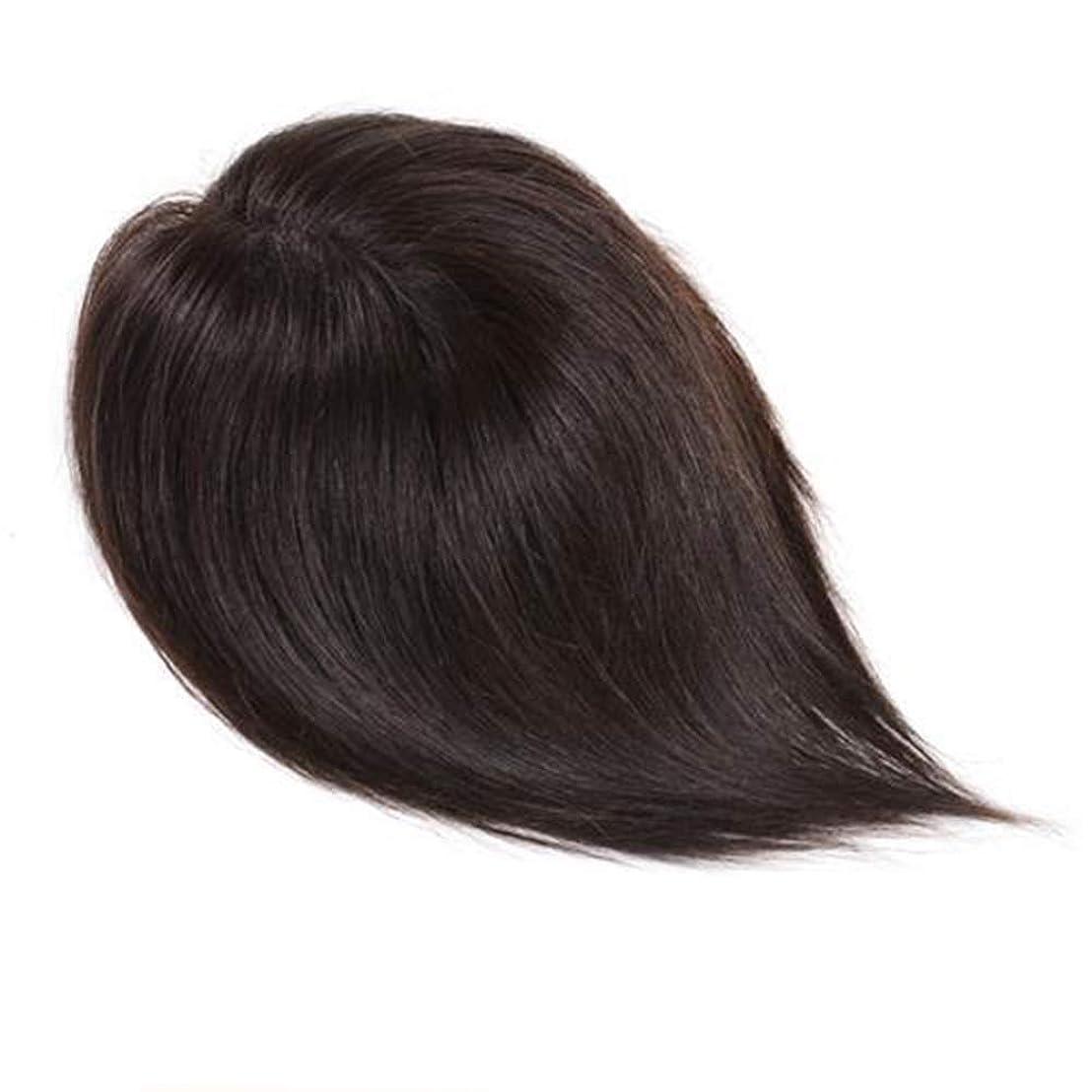 寛大さカヌー鎮痛剤BOBIDYEE 女性のロングストレートヘアハンドウィッグ自然に見える女性のヘアシステム (色 : Natural color, サイズ : 25cm)