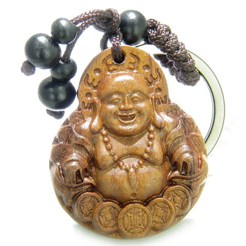 Amulet Sandal Wood Laughing Buddha Sitting on Lucky Coins Feng Shui Keychain