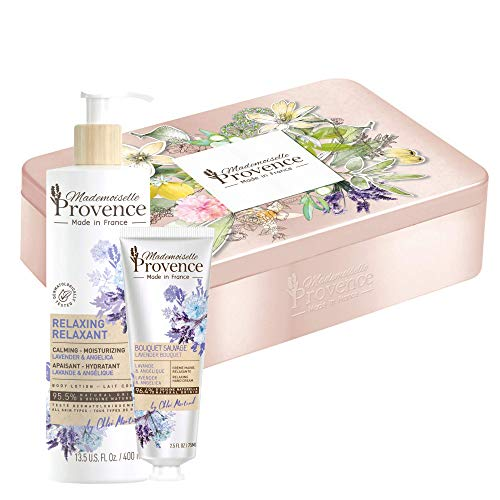 Mademoiselle Provence Deluxe Lavender Tin Gift Set with Relaxing Natural Hand Cream, Soothing Body Lotion, Stylish Beauty Box, Lavender and Angelica Heavenly Scented French Creams, Cruelty Free