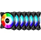 upHere Alto Rendemento Ventilador de PC 120mm - 5v ARGB LED Ventilador para Ordenador apoyar el ASUS Aura Sync/GIGABYTE ARGB Fusion/MSI Mystic Light Sync/AsRock Polychrome Sync,Paquete de 6/T3SYC3-6