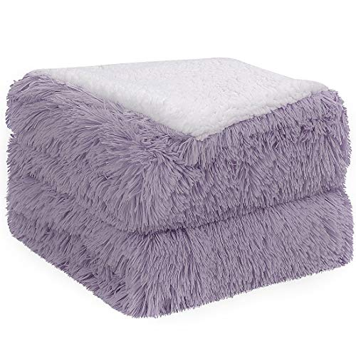 PiccoCasa Shaggy Faux Fur Blanket - Soft Warm Reversible Solid Sherpa Throw Blanket for Sofa, Couch and Bed - Luxury Plush Fluffy Fleece Blankets As Gifts (50x60 Inch, Purple)