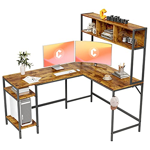 Cubiker L-Shaped Desk with Hutch, 60' Corner Computer Desk, Home Office Gaming Table with Storage Shelves, Space-Saving, Rustic Brown