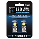 SIRIUSLED N6 194 Extremely Bright 3030 Chipset LED Bulbs for Car Interior Lights License Plate Dome Map Side Marker Door Courtesy Wedge 6000K Xenon White 168 175 174 2825 T10 192 Pack of 2