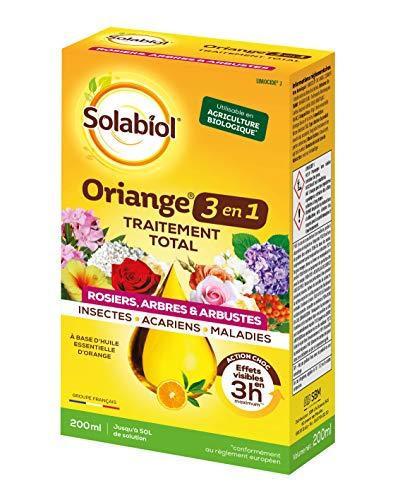 Solalbiol SotoTPOT200 | 200 ml | hasta 50 L de solución | Tratamiento Total 3 en 1 | Insectos acucarianos Enfermedades | Rosieros árboles y arbustos | a Base de Aceite Esencial de Naranja Suave