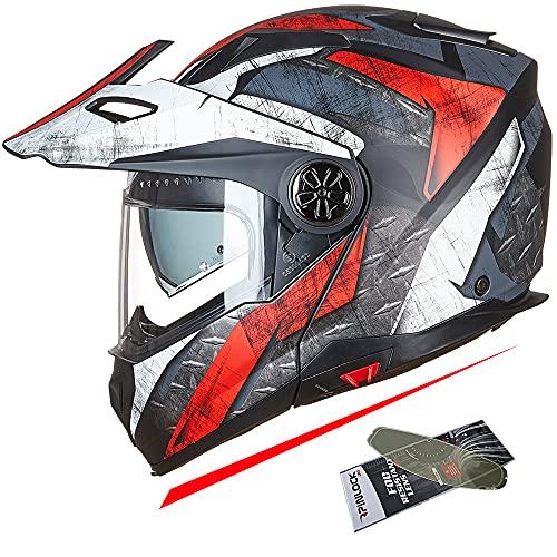 ILM Motorcycle Full Face Modular ATV Helmet Three in One Casco with Pinlock Anti Fog Visor for Men Women DOT(Red White XXL)