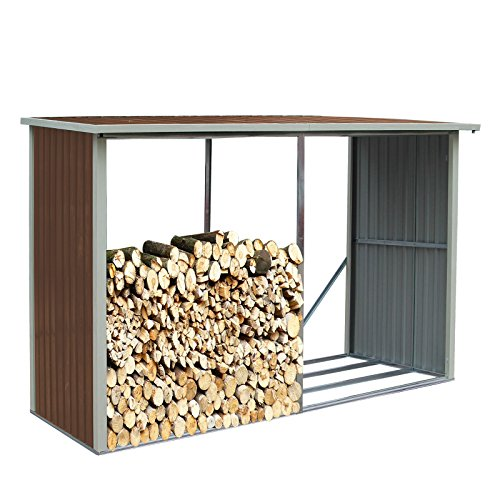 Kaminholzregal - Brennholzregal - Regal Maße: 303 x 120 x 175/190 cm