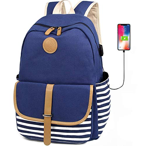 Upgraded Canvas School Backpack for Girls Women Cute College Bookbag with USB Charging Port Fits 15.6' Laptop Backpack Daypack, Blue