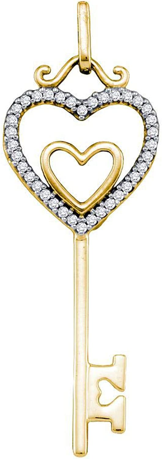 10kt Yellow gold Womens Round Diamond Key Double Heart Pendant 1 10 Cttw