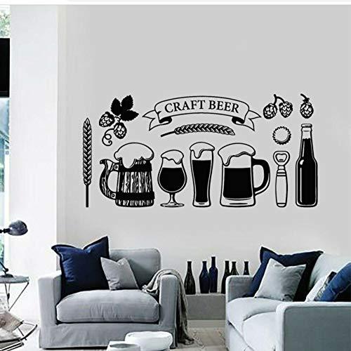 Craft Bier Glas Alcohol Drinkende Pub Muurstickers Vinyl Snijden Decal Verwijderbare muurschildering Keuken Bar Shop Decor Behang 87x42cm