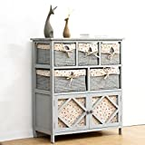 <span class='highlight'>Cherry</span> <span class='highlight'>Tree</span> <span class='highlight'>Furniture</span> Shabby Chic Grey Paulownia Solid Wood Sideboard Drawer Chest with Wicker Baskets