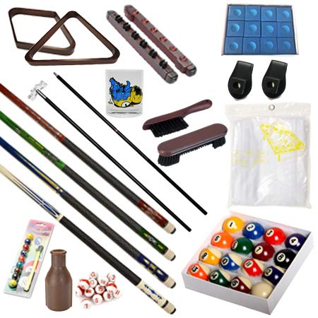 Pool Table - Premium Billiard 32 Pieces Accessory Kit - Pool Cue Sticks Bridge Ball Sets (Kit-3)