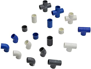 Pipe Fittings PVC Water Supply Pipe Fitting Tee Cross Straight Elbow Equal Connector Inner Diameter 20mm Plastic Joint Irr...