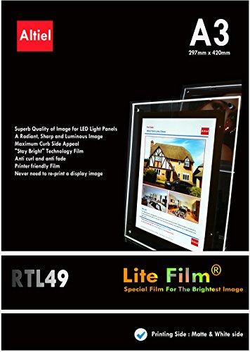 RTL49 - 10 hojas x A3 Paquete con muestras de pedido (10 hojas) diseño de Lit papel - / Lite de pantalla para luz LED bolsillo, Lightbox, luz paneles