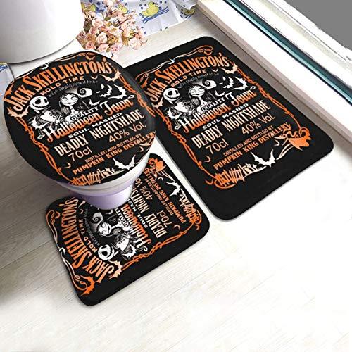 florasun Jack Skellington Daniel's - Juego de 3 almohadillas antideslizantes de espuma viscoelástica para baño (61 x 90 cm)