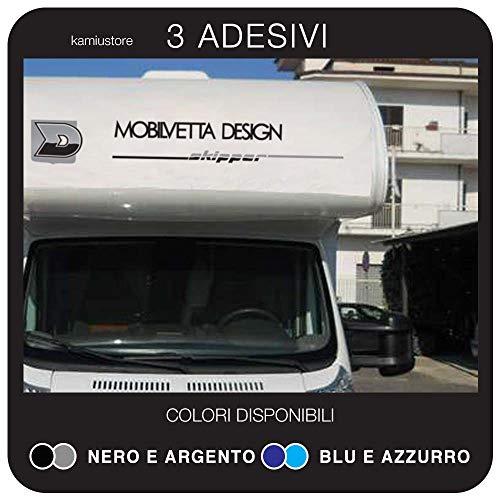 kamiustore Adesivo Mobilvetta Skipper per Camper in Vinile - Set di 3 desivi Scritta in 2 Colori (Nero/Argento)
