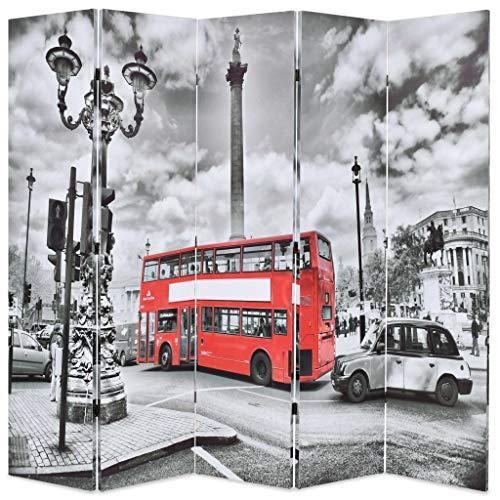 Festnight Paravent Trennwand 5-teilige Raumteiler klappbar 200 x 180 cm London Bus Schwarz-Weiß