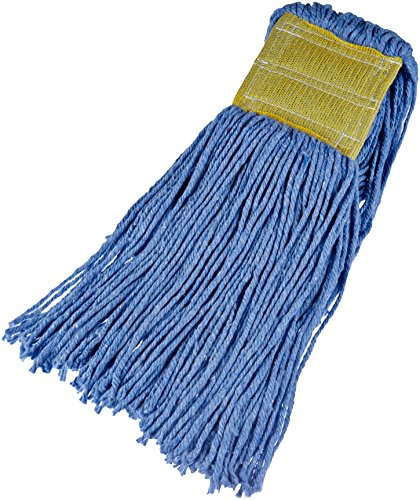 Amazon Basics Cut-End Cotton Commercial String Mop Head, 5 Inch Headband, Large, Blue, 6-Pack