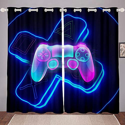 Erosebridal 3D Gamepad Windows Drapes Gaming Gamer Curtain for Bedroom Living Room for Kids Boys Adults Video Game Gamepad Curtains Game Controller Room Decoration,Purple,42 X 63 Inch,2 Panels