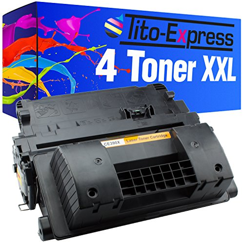 Tito-Express PlatinumSerie - Juego de 4 tóner XXL negro (compatible con HP CE390X 90X Laserjet Enterprise 600 M602DN M602 M600 M602N M602X M603DN M603N M603XH M4500 Series M4555F MFP M4555 FSKM)