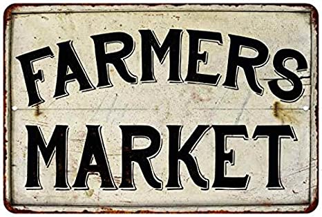 Metal Farmer/'s Market Sign Vintage Farmhouse Style Embossed Fixer Upper Sign