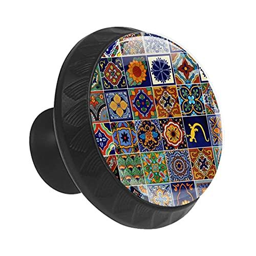 Pomos mexicanos para cajón de azulejos con forma de círculo de cristal con tornillos para armario de oficina en casa (35 mm, 12 unidades)
