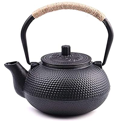 TOWA Workshop Japanese Tetsubin Cast Iron Teapot Tea Kettle pot with Stainless Steel Infuser for Stovetop Safe Coated with Enameled Interior?Black 22 oz