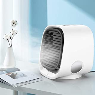 BHDesign Mini Enfriador Portátil USB Aire Acondicionado, 3 En 1 Ventilador Purificador, Humidificador, con Oficina Ventilador De Escritorio Mini Ventilador, para Coche Casa Oficina,Blanco