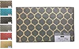 """Fashion Ogee Pattern Rug, Non-Skid Home, Kitchen, Floor Mat, Comfortable Standing and Entrance Rug, 17"""" x 28"""" (Grey)"""