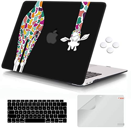 MacBook Air 13 inch Case 2020 2019 2018 Release A2337 M1 A2179 A1932,iCasso Plastic Hard Shell Case and Keyboard Cover Compatible MacBook Air 13'' with Touch ID Retina Display - Black Colorful Giraffe