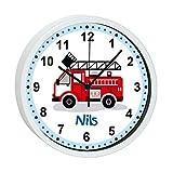 CreaDesign, WU-32-1023 Feuerwehr, Wanduhr Kinder ohne tickgeräusche mit Namen personalisiert, Rahmen rot, Ø 19,5 cm