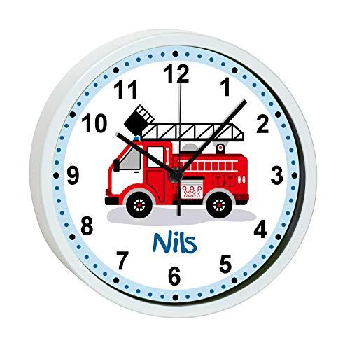CreaDesign, WU-30-1023 Feuerwehr, Kinder Wanduhr Kinderzimmer lautlos mit Name personalisiert, Rahmen weiß, Ø 19,5 cm