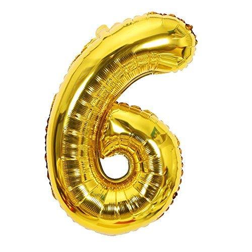 ShopVip Ballons Anniversaire Chiffre 6 Décoration Anniversaire Mariage Géant 80 CM - Grand Ballons Chiffres Or Doré - Ballon Chiffre 6 Ans - Numéro 6 - 60 Ans