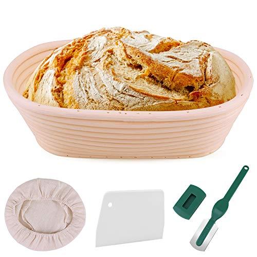 E-Bestar Cestino da Lievitazione per Pane da 25 cm,Cestello Ovale per Lievito Naturale (con Rivestimento in Tessuto, Raschietto per Pasta, Lame per Pane), Ciotola in Rattan per Pane e Pasta