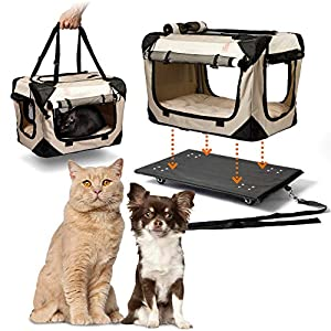 "PetLuv ""Pull-Along Rolling Cat & Dog Carrier & Travel Crate on Wheels – Locking Zippers, Matching Comfy Plush Nap Pillow, Reduces Anxiety"