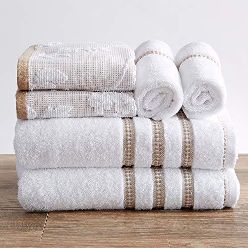 Great Bay Home 100% Cotton Floral Jacquard Bath Towels, Luxury 6 Piece Set - 2 Bath Towels, 2 Hand Towels and 2 Washcloths. Absorbent Super Plush Decorative Towels (6 Piece Set, White/Taupe)