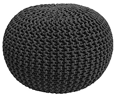 Casa Platino - Hand Knitted Cable Style Dori Pouf – (Dark Grey) - Floor Ottoman - 100% Cotton Braid Cord - Handmade & Hand Stitched - Truly one of a Kind Seating - 20 Diameter x 14 Height
