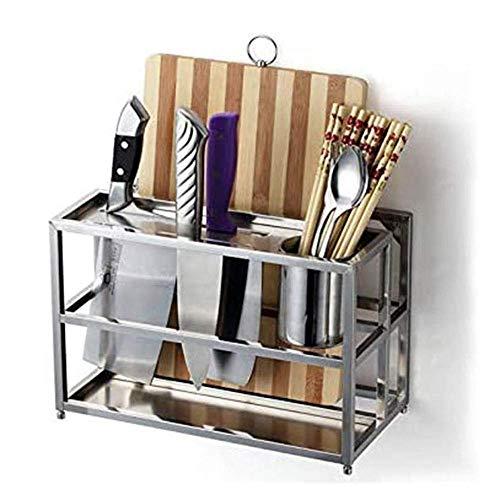 Égouttoir de Cuisine Planche à découper multifonctionnelle Planche à découper Rack Porte-Couteau indépendant en Acier Inoxydable