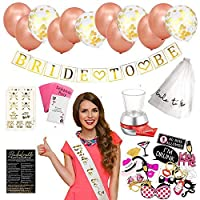 Ultimate 130 Piece Set Bachelorette Party Supplies Kit- Bridal Shower Party Decoration Set - Includes Bride to Be Banner, Veil, Sash - 12 Balloons, 18 Gold Foil Tattoos - 28 Photo Props, 3 Party Games [並行輸入品]