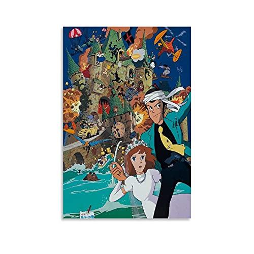 Poster décoratif sur toile Le château de Cagliostro 50 x 75 cm