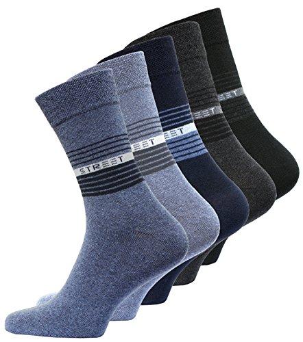 VCA 10 Paar Herren Baumwoll Socken COMFORT Herrensocken verschiedene Modelle (43-46, Street Dunkel Sortiert (2035))